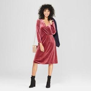 A New Day Long Sleeve Velvet Wrap Midi Dress